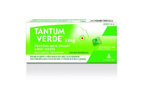 Imagen del producto TANTUM VERDE 3 MG PASTILLAS PARA CHUPAR SABOR MENTA , 20 PASTILLAS