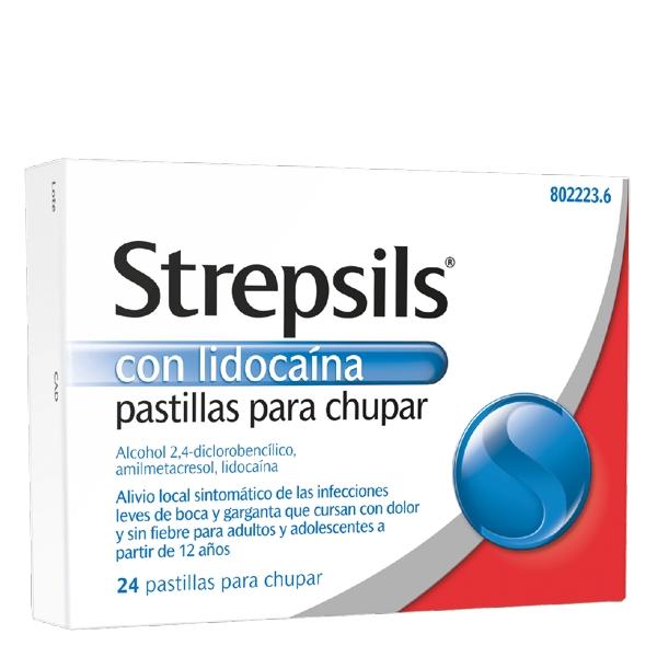 Imagen del producto STREPSILS CON LIDOCAÍNA PASTILLAS PARA CHUPAR, 24 PASTILLAS