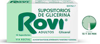 Imagen del producto SUPOSITORIOS DE GLICERINA ROVI ADULTOS 12 SUPOSITORIOS
