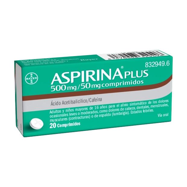 Imagen del producto ASPIRINA PLUS 500/50 MG 20 COMPRIMIDOS